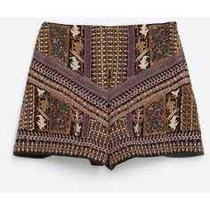Zara Embroidered Shorts (€44) ❤ liked on Polyvore featuring shorts, black, embroidered shorts and zara shorts