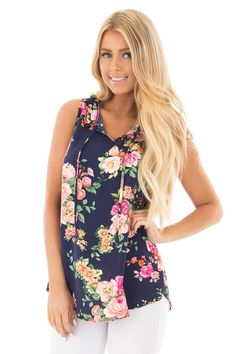 Lime Lush Boutique -  Navy Floral Print Tank with Ruffle Tie-Up Collar , $36.99 (https://www.limelush.com/navy-floral-print-tank-with-ruffle-tie-up-collar/)