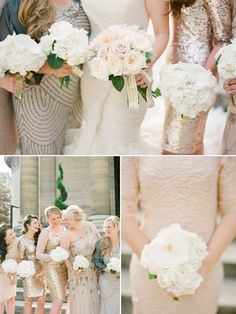 mismatched sparkles - bridesmaids  matching sparkles   Top 7 Trends for 2014 Bridesmaid Dresses -InvitesWeddings.com