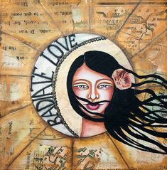 "Radiate love - mixed media of a beautiful girl face painting with daily affirmation, - nice art reproduction 12"" x 12"" for wall decoration #affirmation #mixedmedia"