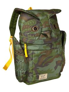 Camo owl backpack!!!! He needs this in his life!
