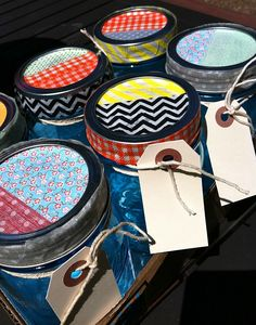 Add some washi tape to your mason jars. Fill with goodies for an instant hostess, teacher, or thank-you gift. Adorable.