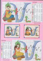 "Gallery.ru / geminiana - Альбом ""iniciales 9"" Disney Cross Stitch Patterns, Baby Bibs, Alphabet, Diagram, Letters, Map, Crochet, Gallery, Cross Stitch Alphabet Patterns"