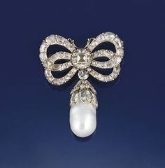 mid-18th c. silver, diamond, and pearl brooch.