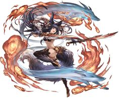 :d animal ears barefoot bell black legwear breasts cleavage dual wielding erun (granblue fantasy) fang fire fox fox ears fox tail full body gloves granblue fantasy groin hair ornament hitodama holding holding sword holding weapon jingle bell long Game Character Design, Fantasy Character Design, Character Concept, Character Inspiration, Character Art, Concept Art, Anime Warrior, Fantasy Warrior, Fantasy Girl