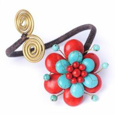 Turquoise red coral brass flower handmade fair trade adjustable bracelet cuff by 81stgeneration 81stgeneration. $15.98