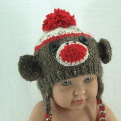 Newborn to 3 mo. Sock Monkey Handmade Knit Baby Ear Flap Hat