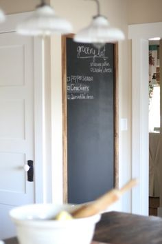 Cochran-Smith Foster kitchen blackboard by eddie Kitchen Redo, Kitchen Remodel, Kitchen Board, Life Kitchen, Kitchen Nook, Kitchen Blackboard, Blackboard Paint, Small Chalkboard, Framed Chalkboard