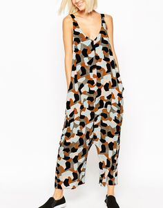 ASOS Minimal Oversized Jumpsuit in Abstract Print