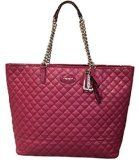 """Coach 32905 Metro Quilted Chain Tote Bag - Cranberry / Claret. New with tags. Red coated canvas with red patent leather trim. Beautiful silver chain handles with an 8"""" drop. Interior multifunction and zipper pockets. Dog leash closure allows tote."""