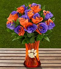 FTD proudly presents the Clemson University Tigers Rose Bouquet. Show your school colors and pride with this unique rose bouquet, available with an etched keepsake vase. Clemson Football, Clemson Tigers, Football Season, College Football, Clemson Paw, College Graduation, Orange And Purple, Purple Roses, Rose Bouquet
