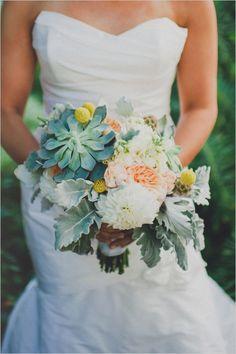 green, peach and yellow wedding bouquet #nauticalwedding #succulentbouquet http://www.weddingchicks.com/2013/12/05/navy-and-yellow-nautical-wedding/
