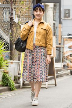 funky printed skirt, sunshine yellow jacket and cure hair wrap