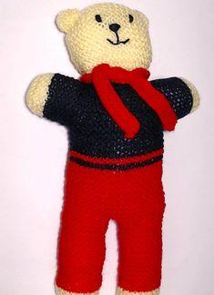 Charity bear made by Blue Light Babies, UK, for yarndale.co.uk Knitting Designs, Knitting Patterns, Great Hobbies, Crochet Bear, Knitting For Beginners, Charity, Create Your Own, Dinosaur Stuffed Animal, Light Blue