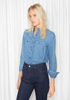& Other Stories Ruffle Collar Chambray Shirt in Blue