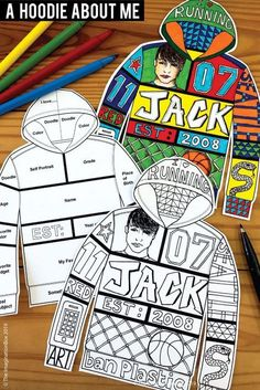 All About Me Back To School Fun Art Activity For Middle School Create a unique 'All About Me Hoodie'! This art and writing project is an easy back to school activity for the classroom. A great lesson plan for grade teachers to use as a f Back To School Printables, Back To School Activities, Art Activities, School Fun, Art School, High School, School Week, Back To School Art Activity, First Week Activities
