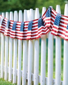Flag-Patterned Fence Swag Your white picket fence can use a splash of color every once in a while.