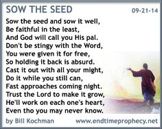 Poetry - Bible-based Christian Poem by Bill Kochman: Sow the Seed