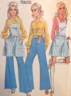 "Vtg McCalls 9698 Sewing Pattern 34"" Bib Bibbed Jumper Bell Bottom Pants Blouse"