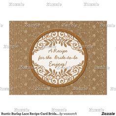Rustic Burlap Lace Recipe Card Bridal Shower