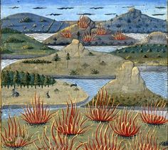 The Aeolian Islands , from 'Secrets de l'histoire naturelle' illustrated by Robinet Testard, - Medieval Manuscript, Medieval Art, Illuminated Manuscript, Illustrations, Illustration Art, Medieval Paintings, Book Of Hours, Environmental Art, Ancient Art