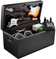 I need this in my house!!!!! Rockband gaming storage ottoman