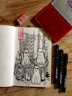 Misadventures of Ordinary Cats on Behance Cat Drawing, Behance, Stamp, Cats, Drawings, Gatos, Stamps, Sketches, Cat