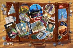 suitcase with travel stickers? passport with stamps?