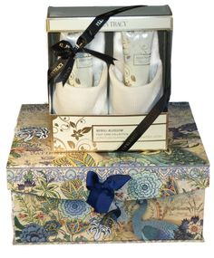 Ellen Tracy Neroli Blossom Foot Care Collection Ultra Plush Slippers and Foot Care Gift Set in a Large Studio Voltaire Peacock Gift Box