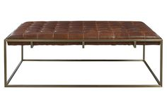Tan Leather Tufted Ottoman Metal Legs Article Tablet
