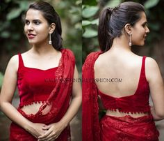 Looking for blouse designs to wear with your plain sarees? Here are 30 creative designer blouse models you can wear with your plain sarees! Blouse Back Neck Designs, Fancy Blouse Designs, Sari Blouse Designs, Bridal Blouse Designs, Stylish Blouse Design, Plain Saree, Choli Designs, Designer Blouse Patterns, Sexy Blouse