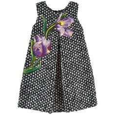 Wool and polyamide knit Synthetic lining Dress inspired by the women's wear range Sleeveless shape Box pleats on the front and in the back Trapeze shape Crew neck Sleeveless Invisible zipper at the back Fancy flowers Mini me item - $ 695