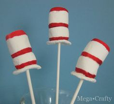 Dr. Seuss's marshmallow pops These would be great to make for a Dr. Seuss theme party   Dr Seuss Birthday Activity