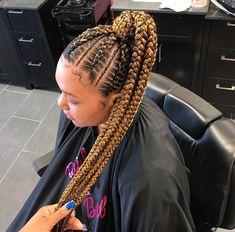 Braided Ponytail Hairstyles for Black Hair – New Natural Hairstyles Big Box Braids Hairstyles, New Natural Hairstyles, Braided Ponytail Hairstyles, African Hairstyles, Weave Hairstyles, Braided Ponytail Black Hair, Hairstyles Haircuts, Feed In Braids Ponytail, Cornrow Ponytail