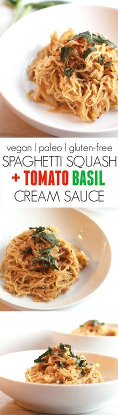 Spaghetti Squash with Tomato Basil Cream Sauce -- A super easy, kid-friendly, vegan, paleo, and gluten-free main dish the whole family will devour!