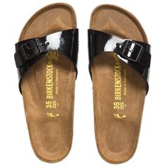 Girls Black Patent 'Madrid' Sandals, Birkenstock, Girl