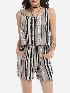 Linen Assorted Colors Printed Striped Rompers