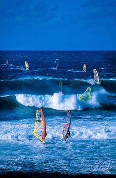 Windsurfing at Ho'okipa Beach ~ Maui, Hawaii