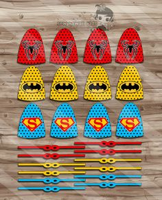 Superhero Lollipops, Superhero Capes and Masks, Birthday Party Supplies, Superhero Suckers - JPG Dig Superman Birthday Party, Superhero Birthday Invitations, Girl Superhero Party, Avengers Birthday, Superhero Capes, 6th Birthday Parties, Theme Parties, 4th Birthday, Pop Art