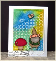 Smiling while Stamping: Hello handmade watercolor card using My Favorite Things You Gnome Me, Simply Circles Background stamps and Stitched Scalloped Edges die-namics