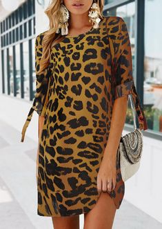 Leopard Printed Splicing Tie Mini Dress - Look Of The Day Navy Blue Dresses, Nice Dresses, Plain White Dress, Latest Fashion Clothes, Fashion Outfits, Long Sleeve Mini Dress, Active Wear For Women, Buy Dress, Pop Fashion