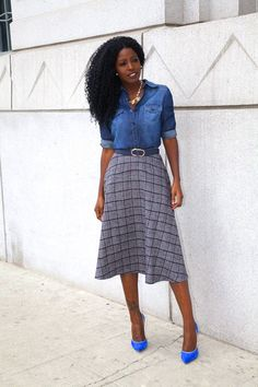 Style Pantry | My Style | Denim Shirt + Plaid Midi Skirt