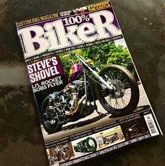 Made cover with a little shuv. 100% is the UKs #1 custom mag so too damn cool  #shovelhead #100percentbikermagazine #rocketbobs