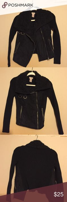 Black zip up jacket Black suede/ sweater material zip up light jacket. Faux Sherpa around the collar of the neck. Sweater material sleeves and back of jacket. Jackets & Coats