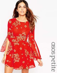ASOS PETITE Fluted Sleeve Dress with V-Back in Red $69 #Fluorescent