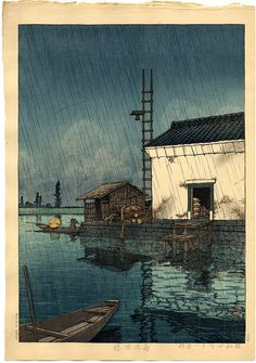 "Hasui, Kawase (1883-1957) , ""Rain at Ushibori"" / Castle Fine Arts"