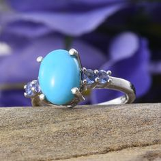 Arizona Sleeping Beauty Turquoise and Tanzanite Ring in Platinum Overlay Sterling Silver (Nickel Free)