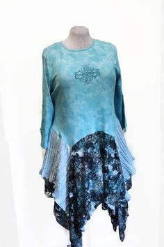 Ladies Lagenlook Tunic Top Upcycled Tattered by Sweetbriers
