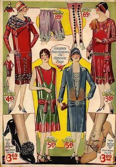The dresses are narrow, shapeless, and have high hemlines compared to earlier times. They are decorated with patterns and designs that can be linked to the Art Deco movement. Hats and hairstyles are obviously 1920s.