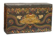 #Tibetan monastic boxes were used in the store rooms of monasteries to hold the brocades,ornaments, and other precious objects that were not used every day. These chests were often offered to the monastery by a sponsor, or were also commissioned by the monastic authorities themselves.On the front are represented a number of coloured gems guarded by the mythological beast, #Zeeba or #Zipak, flanked by a pair of rabbits.